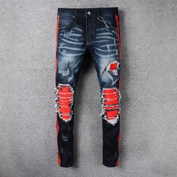 new arrival 2018 mens Strech ripped biker jeans skinny light blue Distressed kanye west designer brand hip hop streetwear swag p