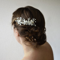 Flower Hair Comb, Bridal Hair Peace, Wedding Headpiece, Bridal Hair Accessories, Pearl Headpiece