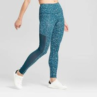Women's Premium High Waist Mesh Reflective Splatter Leggings - JoyLab™ Teal