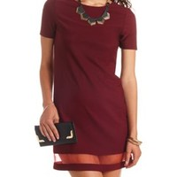 Organza Cut-Out Short Sleeve Shift Dress by Charlotte Russe - Wine