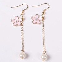 Sakura and Pearl Drop Earrings