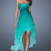 Hi-Lo Prom Dress,Green Prom Dress,Long Evening Dresses