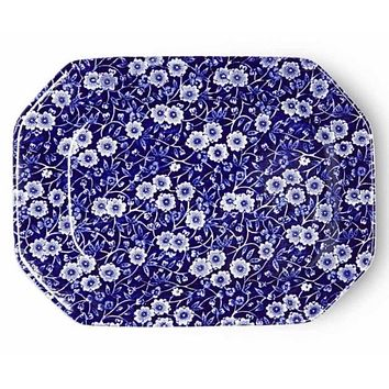 Blue & White English Ironstone Chintz Calico Transferware Platter