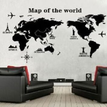 DIY map of the world world map Wall sticker poster Wallpaper wall decals 9133 Living room bedroom office school classroom decor