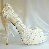 Lacey Ivory wedding shoes ..  with 5 1/4 heels and shabby chic rosette on toes