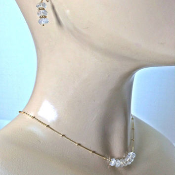 Layer Necklace Mystic Quartz Gemstone Bar Necklace Earring Set Delicate Stacking Sterling Silver 14k Gold Fill Chain Gift For Her