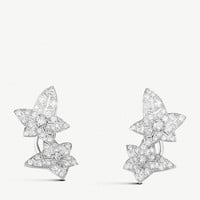 BOUCHERON Lierre de Paris 18ct white-gold and diamond leaf earrings
