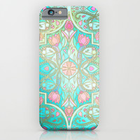 Floral Moroccan in Spring Pastels - Aqua, Pink, Mint & Peach iPhone & iPod Case by Micklyn