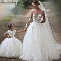 Sheer Long Sleeves Lace Appliques Sweetheart Tulle Princess Wedding Dresses Vintage Victorian Gothic Style Dress Bridal Alternative Measures - Brides & Bridesmaids - Wedding, Bridal, Prom, Formal Gown