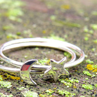 sterling silver ring, friendship rings, minimalist ring, ring set, star moon ring set, gift for her, bridesmaid gift, sterling silver rings