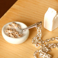 Polymer clay miniature food cereal bowl cheerios and by Zoozim