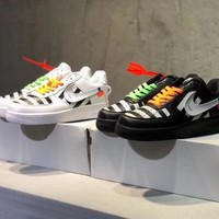 """""""OFF-White x Nike Air Force 1"""" Men Casual Fashion Personality Multicolor Stripe Plate Shoes Couple Sneakers"""