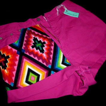 "30"" Vintage High Waisted Aztec Shorts"