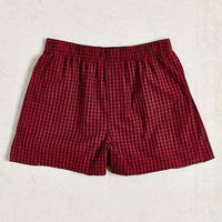 Red Micro Buffalo Plaid Woven Boxer- Red