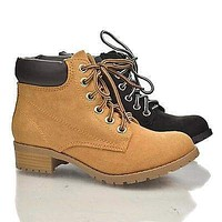 Equity By Soda, Lace Up Padded Ankle Collar Lug sole Platform Chunky Heel Work Boots
