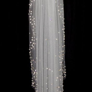 Bridal Veil with Crystal Edge and Scattered Crystals, Elbow Length (30 inch) Crystal Wedding Veil, White or Ivory Veil, Style 1029