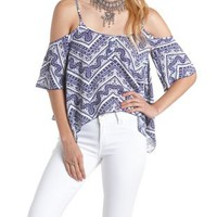Blue Combo Printed Cold Shoulder Trapeze Top by Charlotte Russe