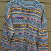 Vintage 80s Pastel Oversize Big Baggy Tribal Geometric Cosby Nordic Fair Isle Sweater L/XL