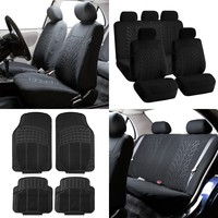 FH Travel Master Car Seat Covers for Auto, Complete Seat Covers Set with 4PCS with Black Floor Mats, Black