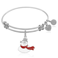 Expandable Bangle in White Tone Brass with Frosty The Snowman Symbol