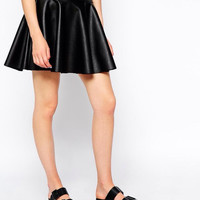 Black Faux Leather Zippered Circle Skirt
