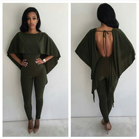 Army Green Backless Jumpsuit with Cape Detail