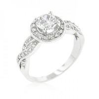 Round Cut Halo Engagement Ring (size: 05) (pack of 1 ea)