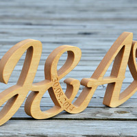 4 inches Free Standing Wood Initials, Script Wood Words, Wood Name, Wood Letters for Home Decor, Nursery Decor, Rustic Wedding Decor
