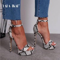 LALA IKAI Fashion Women Summer Sandals Snake Pattern Super High Hoof Heels Buckle Strap Ladies Sexy Party Shoes 014C3350-4