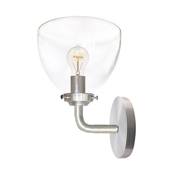 Clear Blown Glass Bell Wall Sconce- Brushed Nickel