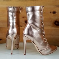 "Rose Gold Pointy Toe Ankle Boot Full Side Zipper 4"" High Heels"