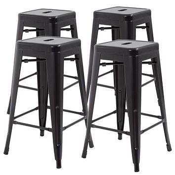 """30 Inches Metal Bar Stools Set of 4 Counter Height Barstools Stackable Metal Chairs High Backless Dining Stool Bar Chair for Indoor Outdoor Patio Home Kitchen Black 30"""""""