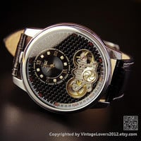 Mens Steampunk Wrist Watch Black Leather - Anniversary Gifts for Men  (WAT0152)