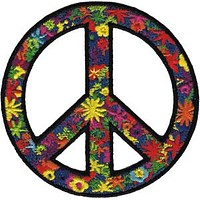 Peace Sign Iron-On Patch Round Flower Power
