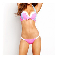 Swimwear Swimsuit Point Lace Macrame Bikini Women   pink point  S