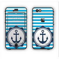 The Vector Navy Anchor with Blue Stripes Apple iPhone 6 LifeProof Nuud Case Skin Set
