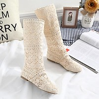 DreamShining New  Women Boots Knitted Hollow High Boots Fashion Womans Cool Botas Mesh Breathable Shoes Womens Single Shoe