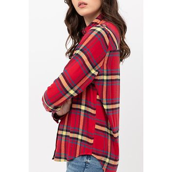Roll Up Long Sleeve Plaid Shirt