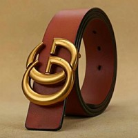 GUCCI Woman Men Fashion Trending Smooth Buckle Belt Leather Belt Brown red G