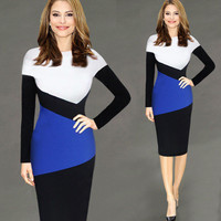 Hot Popular Long Sleeve Round Necked Pencil One Piece Dress  _ 10341