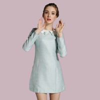 Light Blue Beaded Collar Long-Sleeve Dress