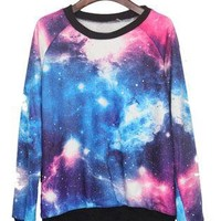Pink and Blue Galaxy Print Pullover Sweatshirt S039