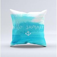 The Hello Summer Blue Watercolor Anchor V2 ink-Fuzed Decorative Throw Pillow