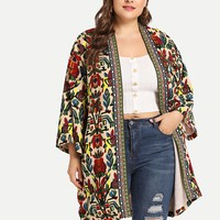Plus Botanical Print Open Front Coat