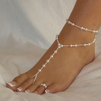 New Pearl Barefoot Sandal Anklet Ankle Bracelet Foot Chain Toe Ring Jewelry