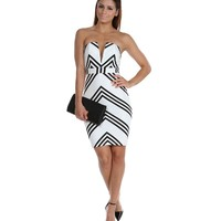 The After Party Ivory Chevron Dress