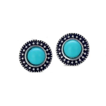Sun Totem Turquoise Stud Earrings