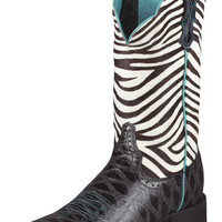 Ariat Quickdraw Black Zebra Print Cowgirl Boot