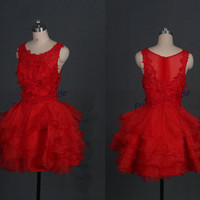 Short red tulle homecoming dress with lace,cheap prom dresses under 150,latest cute women gowns for holiday party,chic bridesmaid dresses.