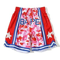 BAPE breathable sports camouflage star shorts Mesh Red
